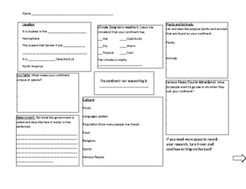 Continent Project Research Graphic Organizer