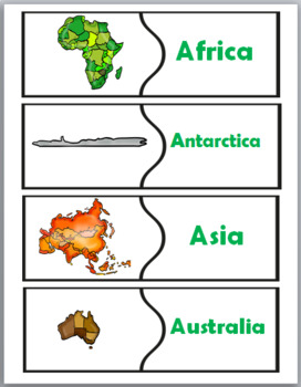 World Geography - 7 Continents Puzzles - Map Skills