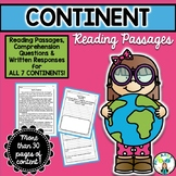 Continent Reading Passages {PLUS Comprehension Questions!}