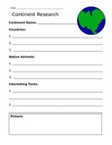 Continent Research Paper and Fact Sheet Bundle
