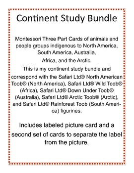 Continent Study - Montessori 3-Part Cards