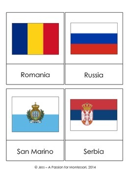 Montessori European Flags, 49 Three Part Cards Europe Continent Box