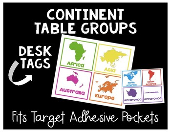 Continent Table Groups Desk Tags for Target Pockets