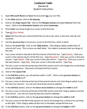 Continent Table Version 2 Technology Lesson Plan & Materials