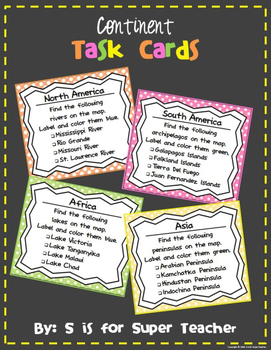 Continent Task Cards