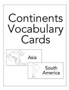 Continent Vocabulary Card Freebie