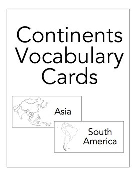 Continent Vocabulary Card Freebie