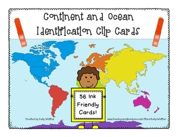 Continent and Ocean Identification Clip Cards - Easy Practice and Assessment!