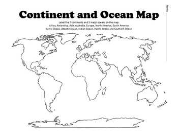 image regarding Printable Map of Continents and Oceans titled Blank Continents And Oceans Map Worksheets Instruction