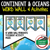 Continent and Oceans Profile Word Wall Pennants & Activity Pages (Geography)