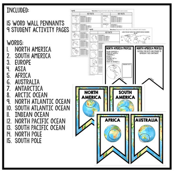 Continent and Oceans Word Wall Pennants & Activity Pages (Geography)