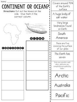 Continent or Ocean? Cut and Paste Sorting Activity
