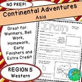 Continental Adventures Asia Region 5 Western Worksheets