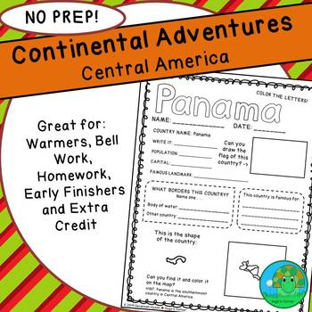Continental Adventures Central America Worksheets