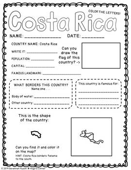 Continental Adventures Central America Worksheets on