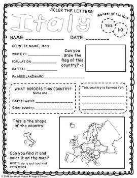 Continental Adventures Europe Region 4 Southern Worksheets