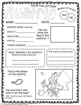 Continental Adventures Europe THE BUNDLE Worksheets