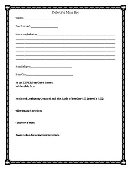 Continental Congress Delegate Mini Biography for Middle and High School History