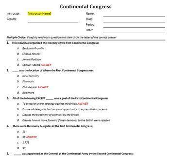 Continental Congress Lesson Plan