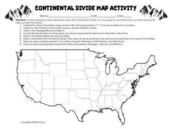Continental Divide Informational Text Activity with Map and Questions