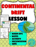 Continental Drift Lesson- Pangaea, Alfred Wegener, Fossils, Convection Current