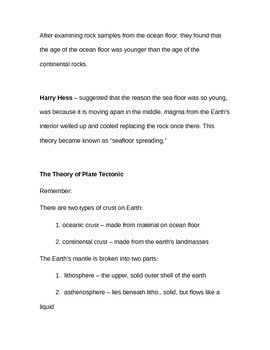 Continental Drift Notes (Editable)