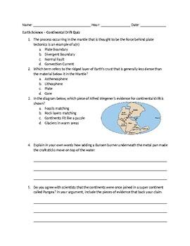Continental Drift Quiz