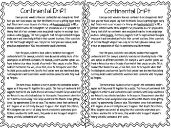 Continental Drift Reading Comprehension Interactive Notebook