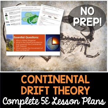 Continental Drift Theory Complete 5E Lesson Plan by Kesler