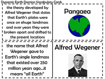 Continental Drift and Plate Tectonics Domino Vocabulary Cards