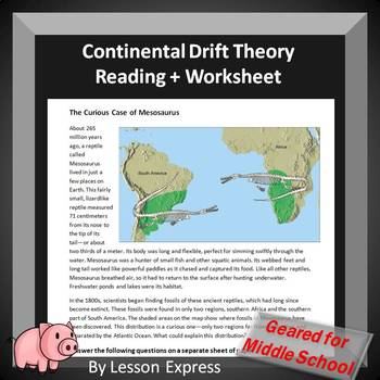 Continental Theory Reading and Worksheet + Bonus Worksheet