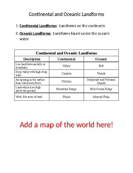 Continental and Oceanic Landforms Chart Studyguide