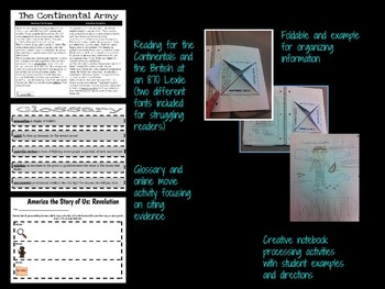 American Revolution: Continentals v. British Interactive Notebook