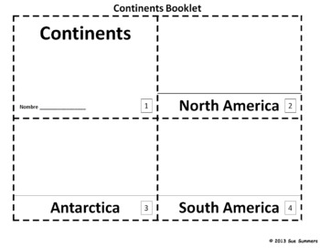Continents 2 Emergent Reader Booklets