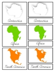 Continents 3-part cards, Outlines, Silhouettes - Montessor