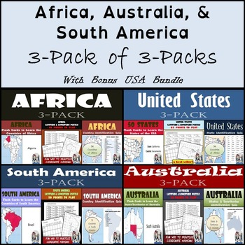 Continents: Africa, Australia, South America - Flash Cards, Quizzes, & Lat/Long