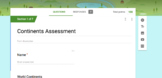 Continents Assessment for Elementary