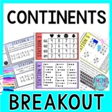 Continents Breakout Activity - Task Cards Puzzle Challenge - World Geography
