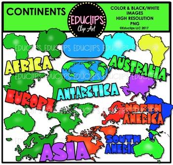 Continents Clip Art Bundle {Educlips Clipart}