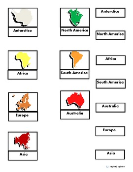 Continents Color Match/Cut and Paste Labels/Flashcards for Autism