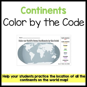 Continents Color by the Code