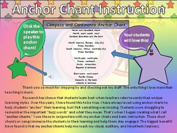 Continents and Compass Rose Song Anchor Chart and Chant Audio - King Virtue