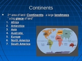 Continents, Countries, States Oceans, Absolute Location an