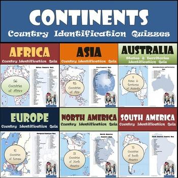 Continents - Country Identification Quizzes Bundle - 6 Different Quizzes!