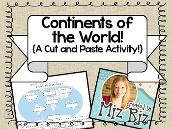 Continents of the World {Cut and Paste Activity!}