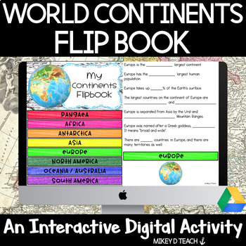 Continents Digital Flipbook - Perfectly Paperless Resource