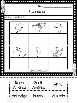 Continents Emergent Reader Book AND Interactive Activities