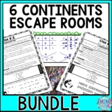 Continents Escape Rooms - 6 pack BUNDLE - Asia, Africa, Europe, Australia