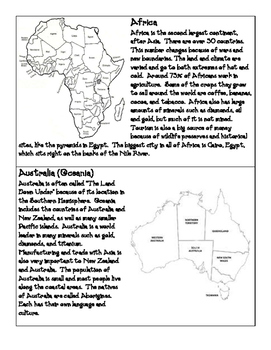 Continents Info Cards
