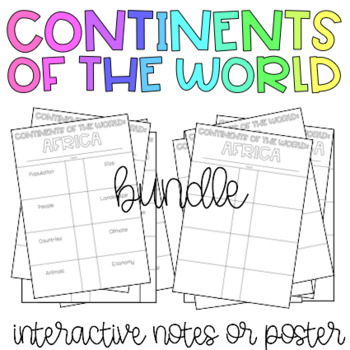Continents Interactive Flip Books / Posters
